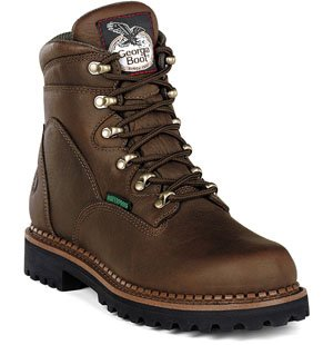 Men's Georgia Boot G63 6'' Waterproof Safety Toe Boot (8 W in Tumbled Chocolate Full Grain Leather)