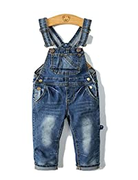 Little Girls Stretchy Big Bibs Front Soft Jeans Overall