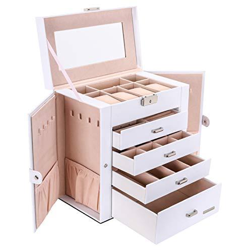 Seelux Caja de joyeria 4 cajones Caja para Joyas, con Espejo, para Pendientes, Pulseras, Anillos, Almacenamiento y Expositor, Relojes, Gafas, Bloqueable Blanco
