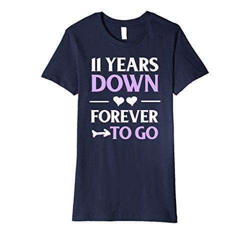 Womens 11th Wedding Anniversary Gift 11 Years Down Forever To Go Medium Navy