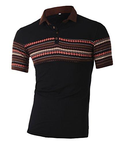 Mens retro print polo short sleeve t-shirts