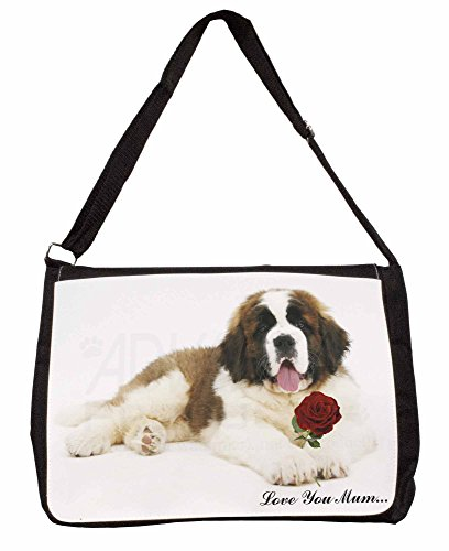 St Bernard+Rose Love You Mum Large 16 Black School Laptop Shoulder Bag
