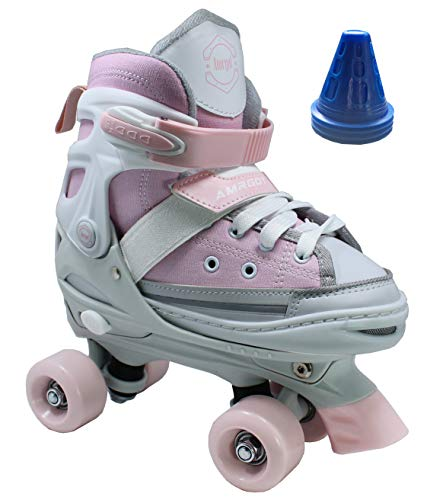 (WiiSHAM Fun Roll Adjustable Canvas Roller Skates with Four Piles... (Pink and Grey, Small))