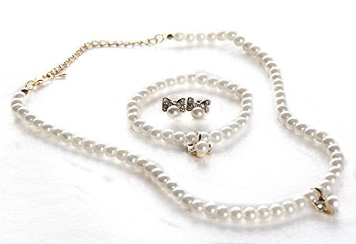 STStory USA Acrylic Pearl Jewelry Set [Necklace, Bracelet, Earrings][Ribbon/Gold] for Girls