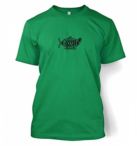 "Bertrand Russell Teapot Ichthys T-shirt - Kelly Green Small (34/36"")"