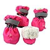 royalwise Pet Dog Boots Christmas Stockings Faux Fur Lined Anti-Slip Indoor Dog Booties for Small Dogs Cat 4 Pcs (S - Rose)