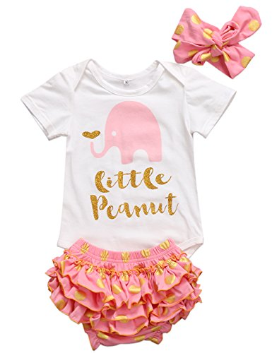 t Sleeve Little Peanut Bodysuit and Polka Dots Ruffle Shorts Outfit with Headband (0-6M, Pink) (Short Sleeve Bloomers)
