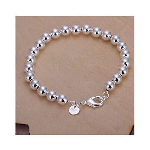SeaISee Women Jewelry 925 Sterling Silver Plated String 8MM Beads Beaded Chain Bracelets