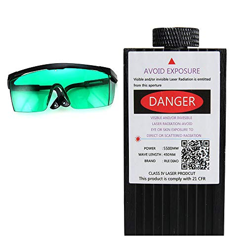 Laser Module 450nm 5500mW Blue DC 12V with Protective Glasses for CNC 3D Printer DIY Engraving Machine