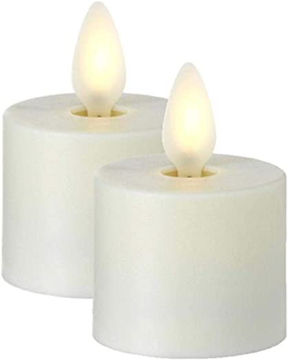 RAZ IMPORTS INC Push Flame Flameless Battery Operated LED Tealight Candle Set of 2 Ivory 1.5 x 2 for Home D cor, Holiday and Gift