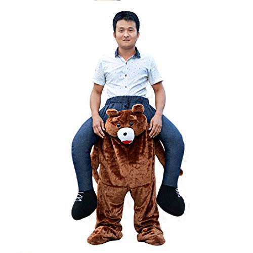 Piggyback Costume Bear - Carry Me Ride On Teddy bear Mascot Fancy Costume Dress Stag Adult
