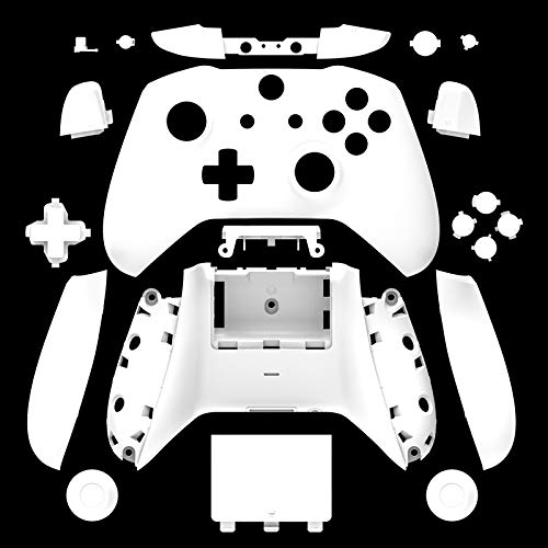 WPS Matte Case Housing Full Shell Set Faceplates + ABXY Buttons + RB LB Bumpers + Right/Left Rails for Xbox One S Slim (3.5 mm Headphone Jack) Controllers (White)
