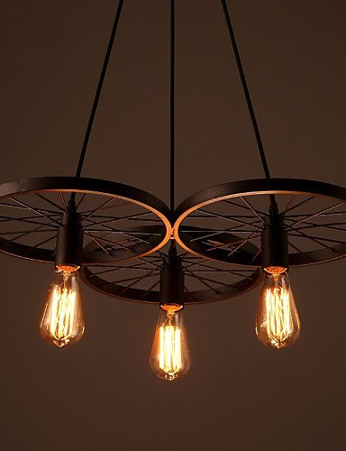 Loft Retro Restaurant Bar Pendant Lamps American country wrought iron chandeliers industrial style wheels , 110-120v FFYAO