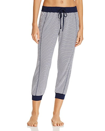 (Splendid Women's Crop Jogger Capri Pant Pajama Bottom Pj, Lakeside Blue/White Stripe, L)