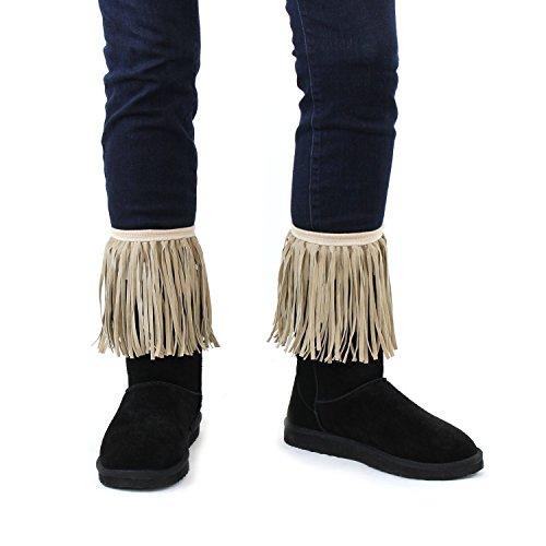 Khaki Women's Faux Suede Fringe Boot Cuffs; Vintage Style Boutique Leg Warmers