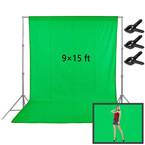 Sheng Long 9x15ft Green Photo Backdrop, Muslin Photography Studio Background with 3...