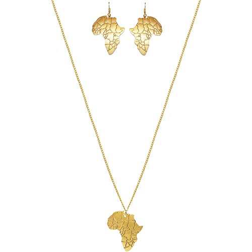 GIRLPROPS 100% Nickel Free Africa Pendant Jewelry, Ours Alone, Made in USA!, Gold Tone Necklace and Earrings in Gold Tone with Antique Finish