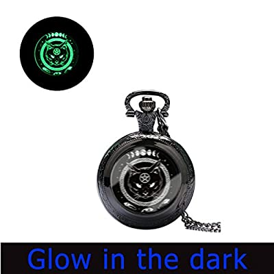Glowlala® glowing Full Moon pocket watch Necklace, glow in the dark ,Black Cat, Astronomy glowing watch Jewelry, Spooky, Halloween, Nature Art watch Pendant