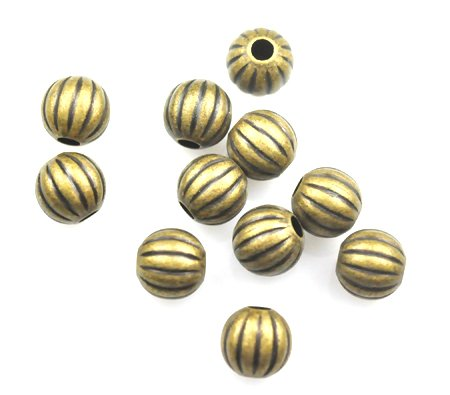 25 Antique Gold Plated Brass Melon Spacer Beads 8MM - Antiqued Brass Metal Beads