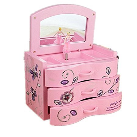 shanze Girl's Musical Jewellery Storage Box with Ballerina(Pink) (Generator Storage Box)
