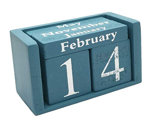 Small Wooden Desk Blocks Calendar - Perpetual Block Month Date Display Home Office Decoration(Blue), 3.7 x 2.1 x 1.7 inches -