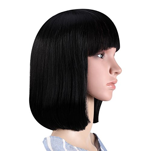 (Black Bob Wig, ETEREAUTY Bob Wigs Short Straight 12