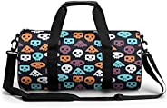 Blue White Skull Sports Gym Bag with Waterproof Wet Pocket & Shoes Compartment, Travel Duffel Bag for Men