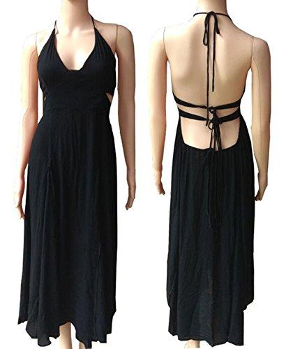 Côté Coton Dos Nu Dos Nu Col En V Femmes R.vivimos Fente Robes Maxi Noir