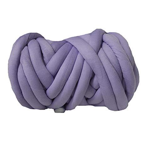 80 Meters Super Chunky Yarn Jumbo Roving Cotton Yarn Machine Washable Tube Cotton Yarn Lilac Giant Yarn DIY Chunky Blanket/Braid Rug/Cat Cave by Hand Knit Yarn (Image #4)