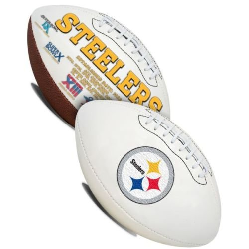 Pittsburgh Steelers Embroidered Logo Signature Series Full Size Football - with Super Bowl IX,X,XIII,XIV,XL,XLIII logos