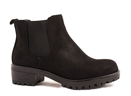Elara para con Chelsea cómodos de Botines mujer estilo negro plataforma 0qwtF6nqX