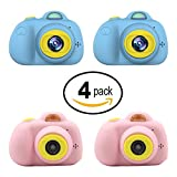 Kids Mini Camera Gifts for Girls and Boys, Rechargeable Shockproof Digital Camcorder Toy for Kids with Soft Silicone Shell - HD Screen Video Lens for Outdoor Play for 3-8 Years Old - 2PINK+2BLUE