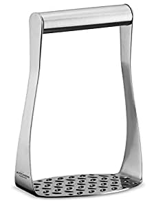 Ergonomic Stainless Steel Masher with Horizontal Handle for Potatoes, Vegetables and Fruits
