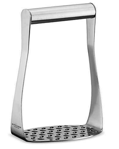 (Ergonomic Stainless Steel Masher with Horizontal Handle for Potatoes, Vegetables and Fruits)