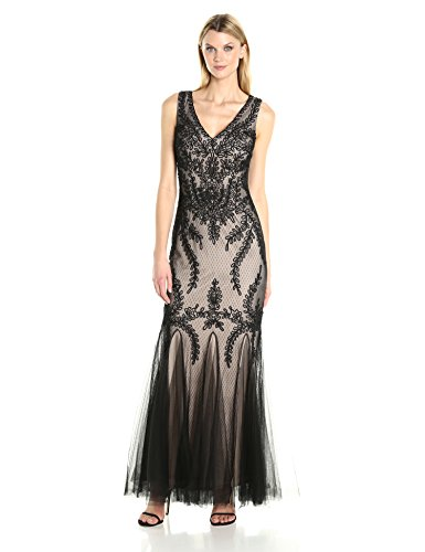 Cachet Women's Embroidered Tulle Gown, Black/Nude, 8