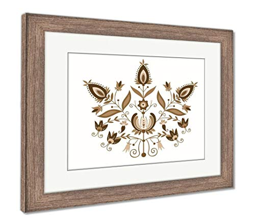 Ashley Framed Prints Polish Folk with Ornamental Floral, Wall Art Home Decoration, Sepia, 26x30 (Frame Size), Rustic Barn Wood Frame, AG5766820 ()