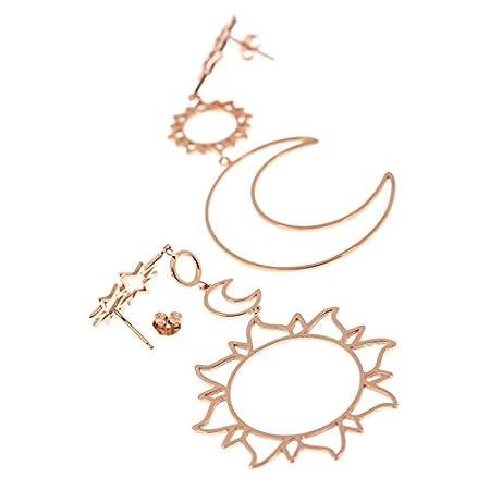 Halloween TREESTAR 1 Paar Ohrringe Damen Sonne Mond Geometrie Pers/önlichkeit Minimalistisch Sch/ön Kreative Eleganz Tropfenohrringe f/ür Geburtstag,Party,Bar Gold