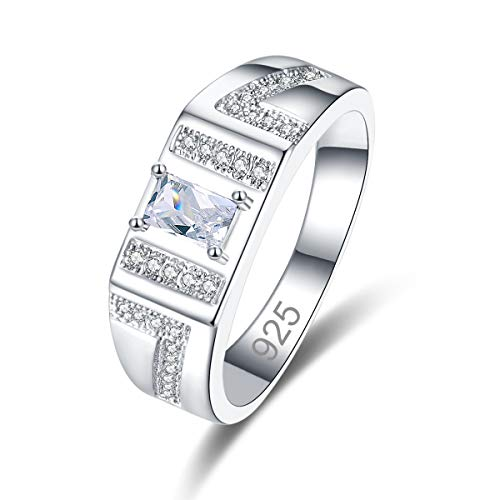 Veunora 925 Sterling Silver Plated Lab-Created White Topaz Promise Proposal Engagement Wedding Rings for Women Girl Size 6