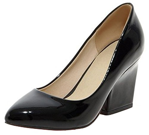 Black Heel Shoes Womens Pumps Toe Dressy Chunky Work Kitten Pointed Wide IDIFU P1g4q