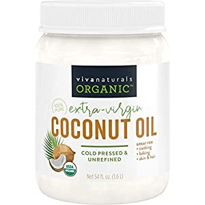 Gut Health Shop 41qwRUmoNFL._SS300_ Viva Naturals Organic Extra Virgin Coconut Oil (54 Oz) - Non-Gmo Cold Pressed
