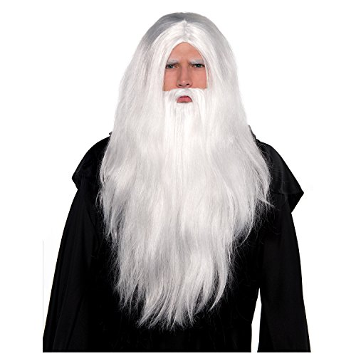 (AMSCAN Silver Merlin Wig and Beard Halloween Costume Accessories, One)