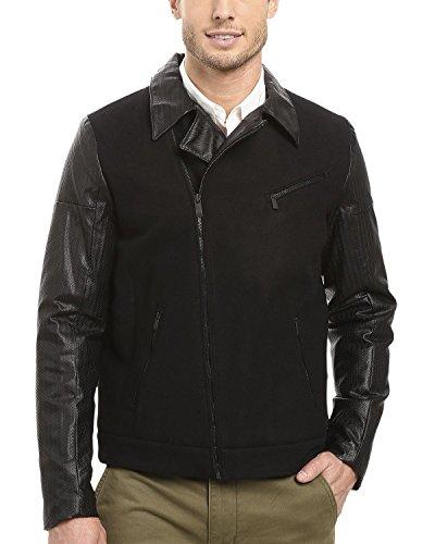 Calvin Klein Men's Mix Media Moto Jacket, Black Medium