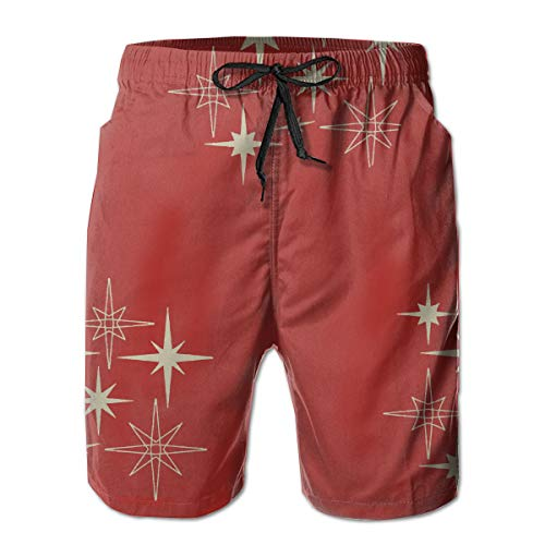 Red Starbursts Mid Century Art Men's Beach Pants Swim Trunks Dry Fit Boardshorts with Pockets (Kaufen Ray)