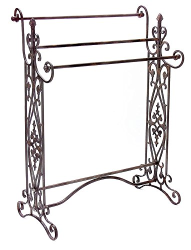 Quilt Rack Made of Quality Metal with Durable Construction and Orante Style in Black Color With Three Rods for Handing Buy Yours Now by eCom Fortune