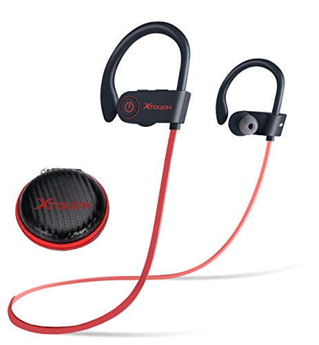 Sport Headphone Noise Cancelling Headphones with Mic, Stereo Bass Earbuds, Secure Fit for Exercises like Running, Jogging, Gym, Earphone for iPhone and Android Red-black