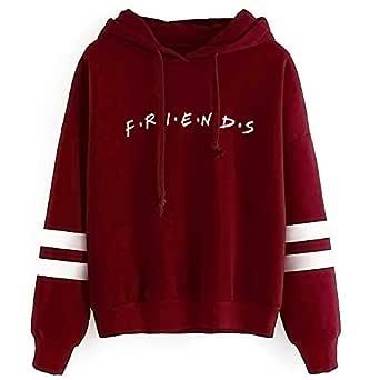 Unisex Fashion Friend Hoodie Sweatshirt Friend TV Show Merchandise Women Men Tops Hoodies Sweater Funny Hooded Pullover (M, Friend Hoodie Wine red)