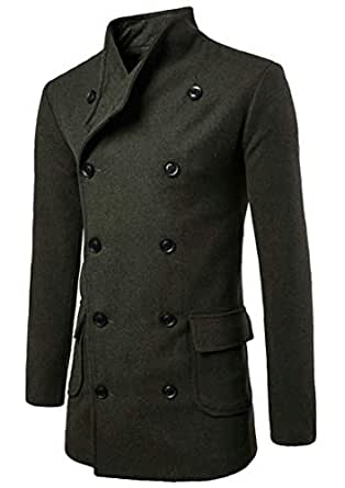 Gocgt Men's Classic Wool Blend Double Breasted Winter