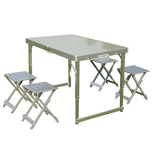 Folding picnic table with umbrella hole and 4 folding - Aluminium picnic table with umbrella ...