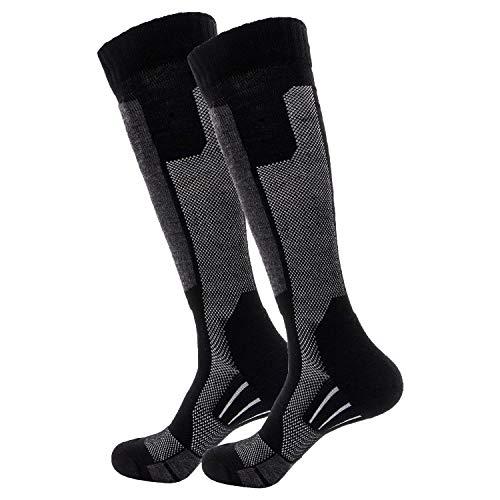 Wantdo Men's Wool Thermal Snowboard Knee-High Outdoor Sports Long Ski Socks Gray 2-Pack