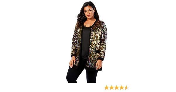 c273eefff4971 Roamans Women s Plus Size Multicolor Sequin Cardigan - Multi